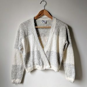 vintage 80s boucle knit cropped cardigan sweater